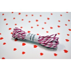 eco paper twine 5 meters -white and fuschia