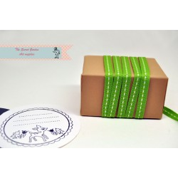 green stitch grosgrain ribbon , 5 meter