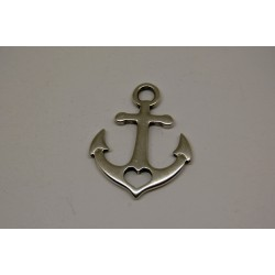 metal - big anchor with heart charm
