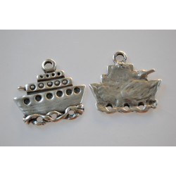 antique ship silver plated charm