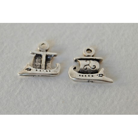 1x antique ship-small, silver plated charm