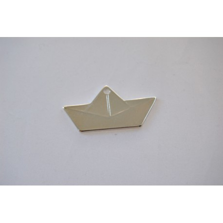 1x paper boat L white silver plated charm