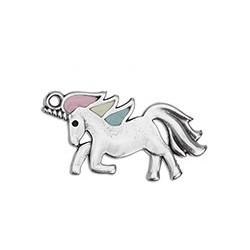 unicorn enameled pendant
